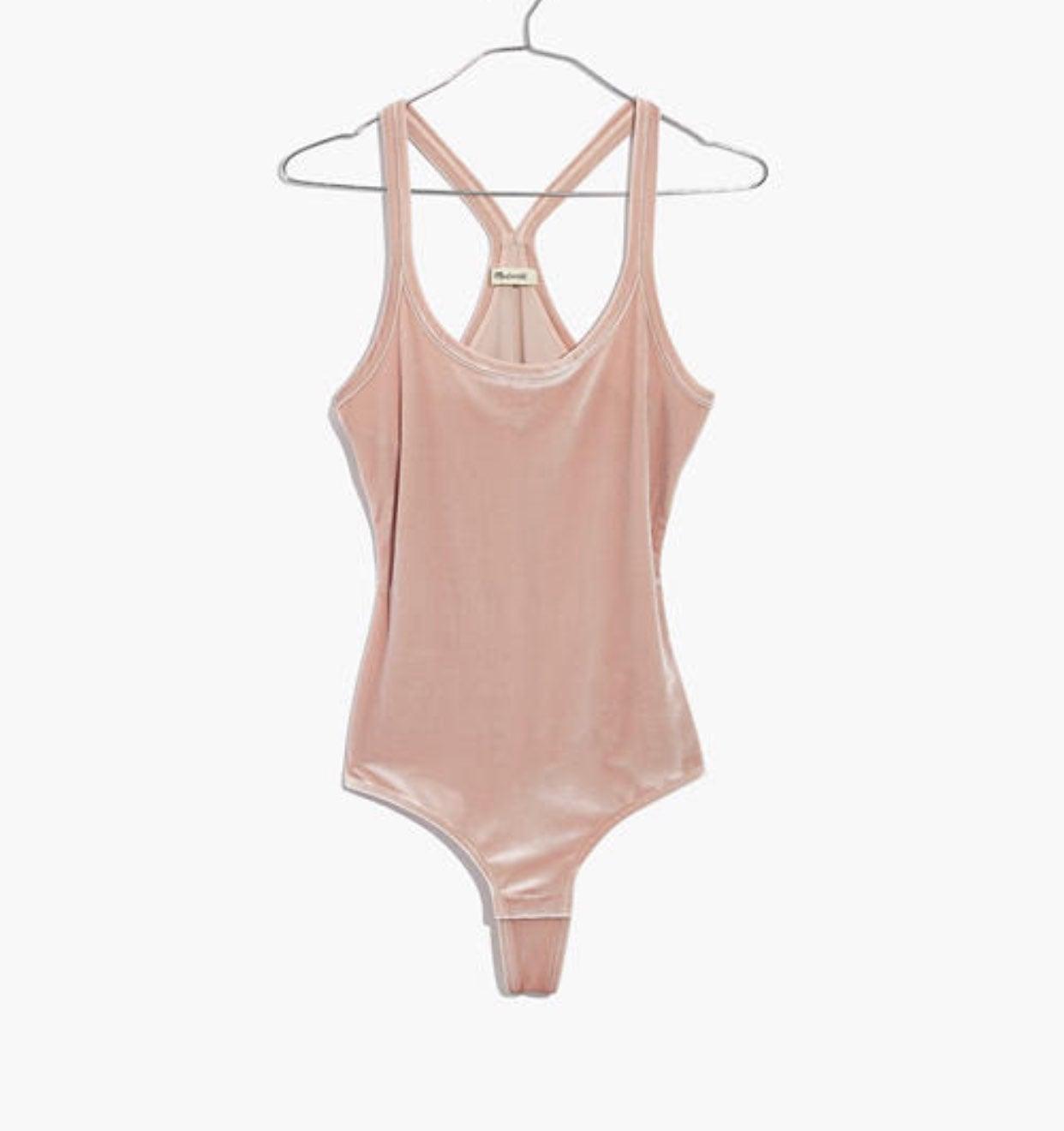 Madewell Pink Velvet Bodysuit XS