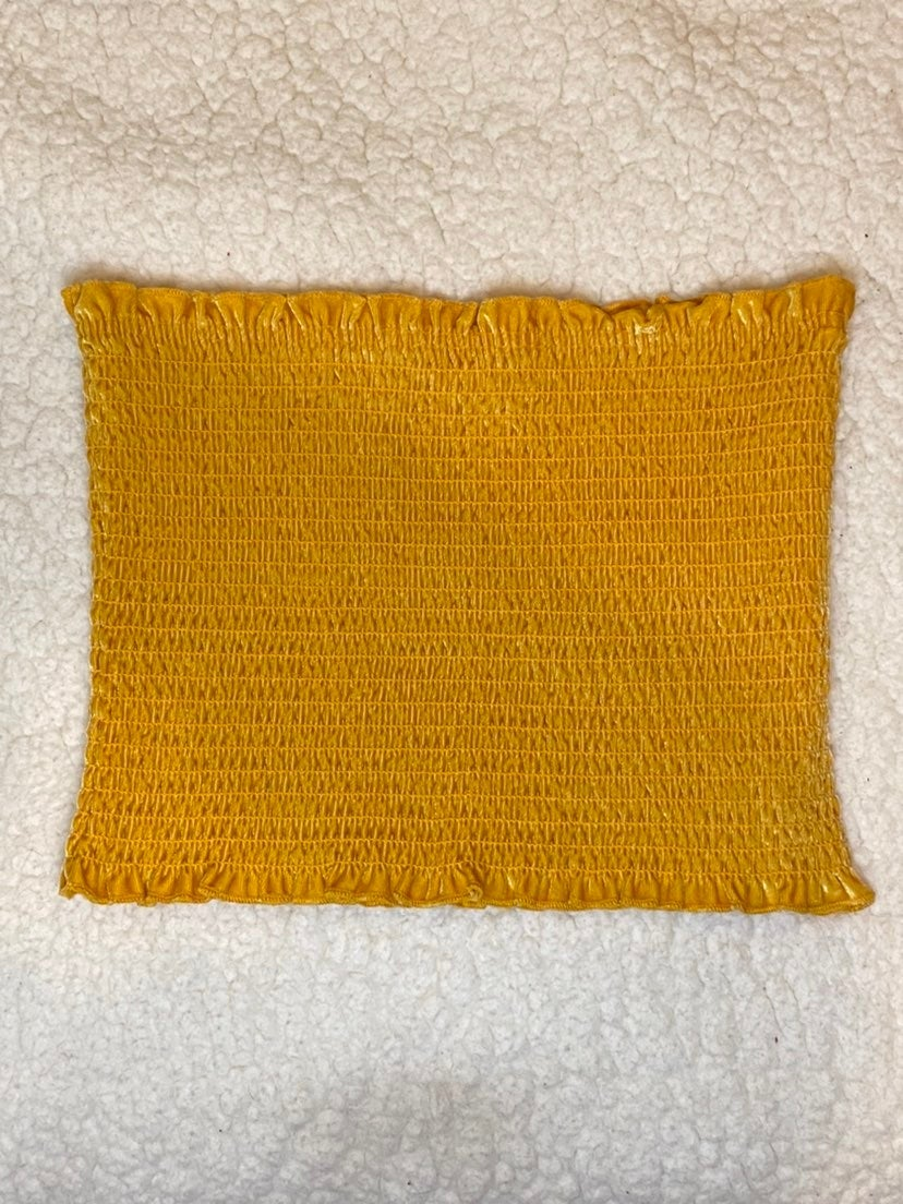 Hollister yellow smocked tube top