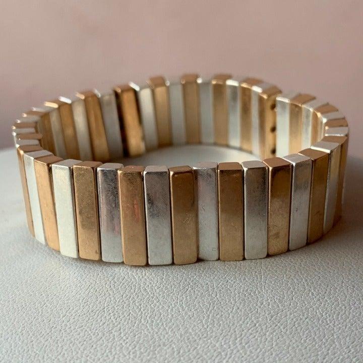Stretchy Gold & Silver tone bracelet