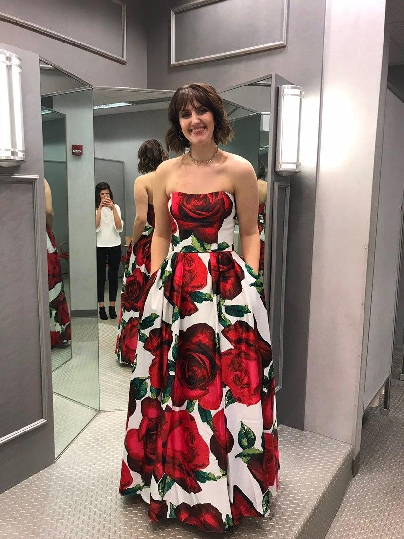 Rose Patterned Prom Dress