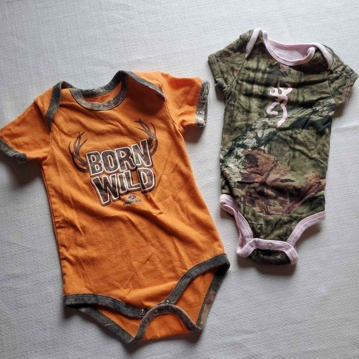 6 month and 18 month Camo Baby Onesie Set