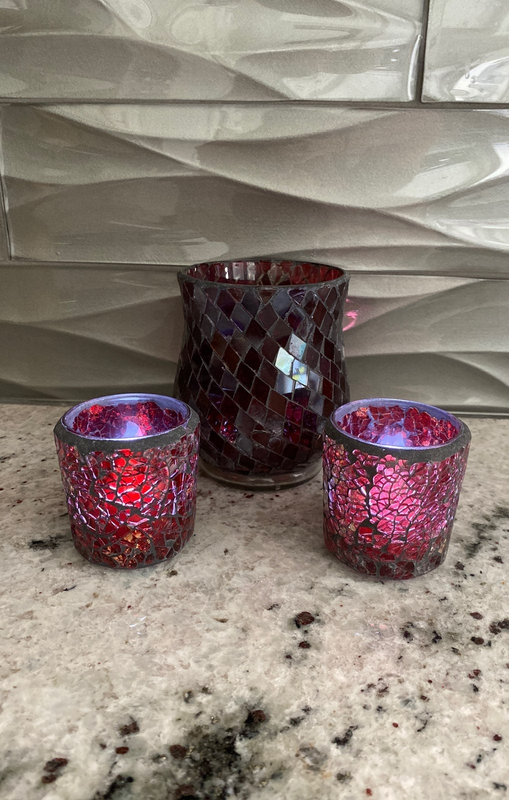 Set of 3 red candle holders