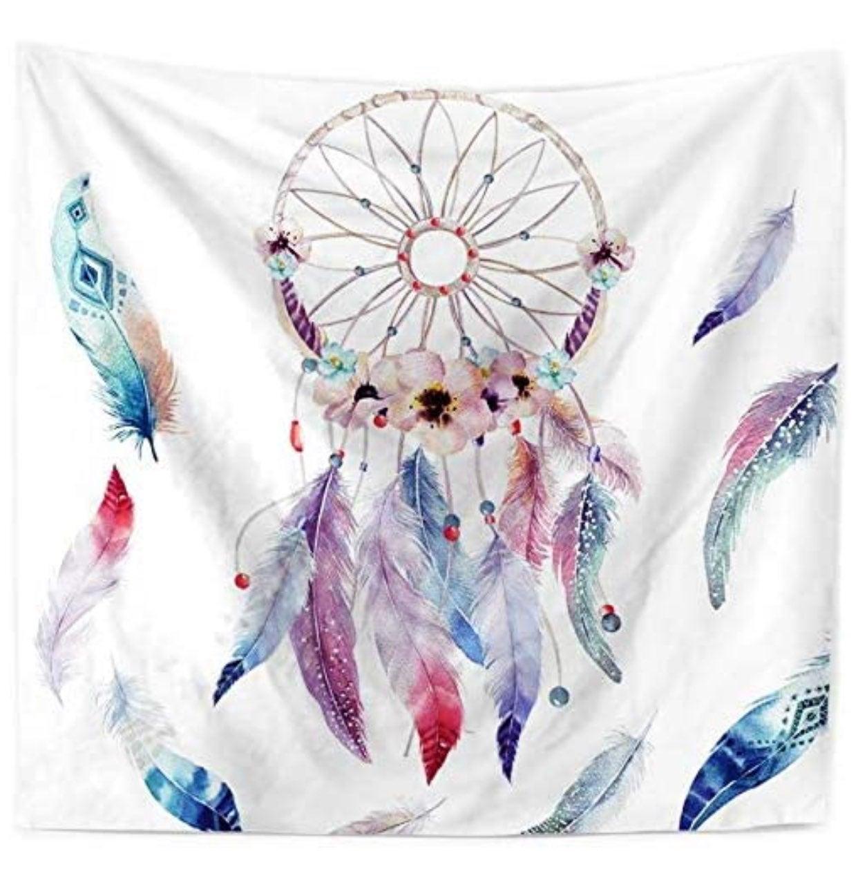 Bohemian watercolor dreamcatcher tapestr