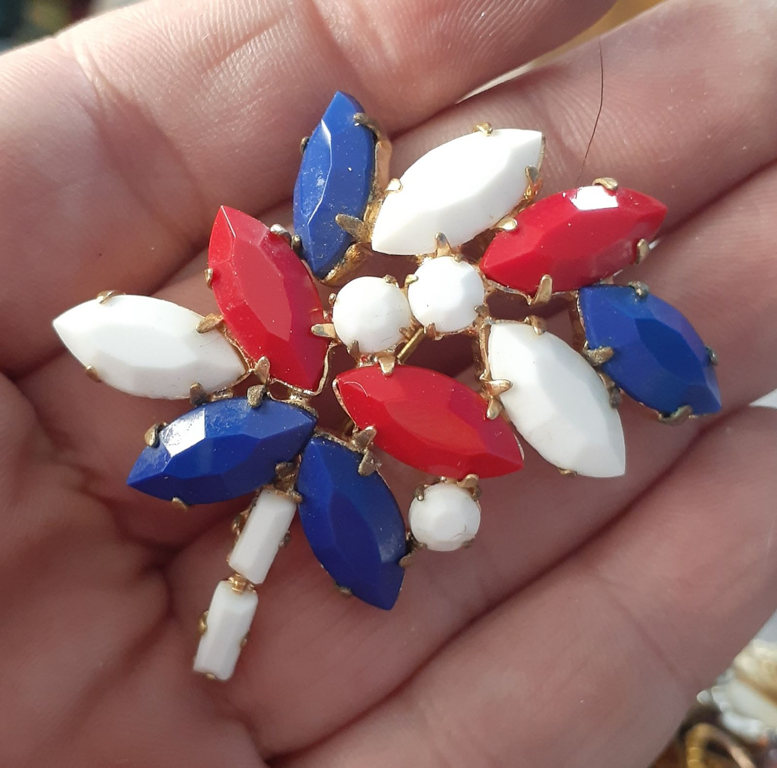 Vintage Juliana Red White Blue Pin Brooc
