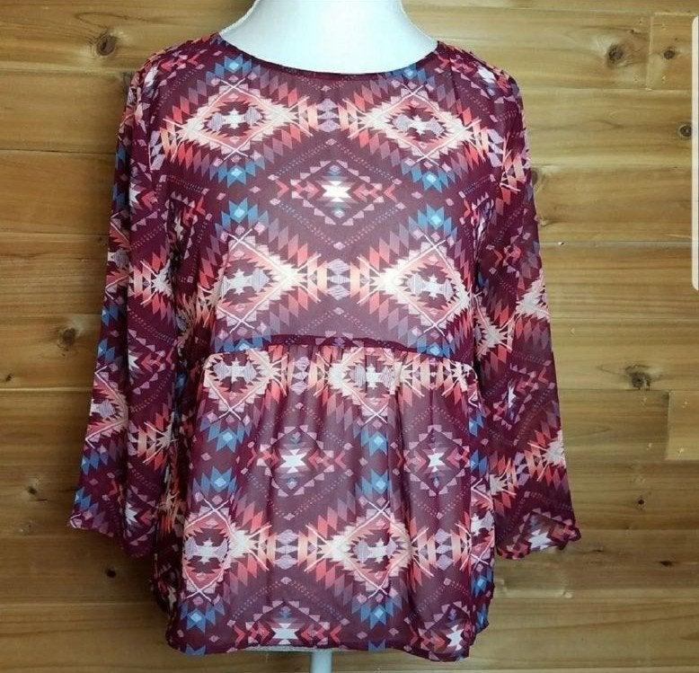Arizona Jean Co. Aztec Print Knit Top, L