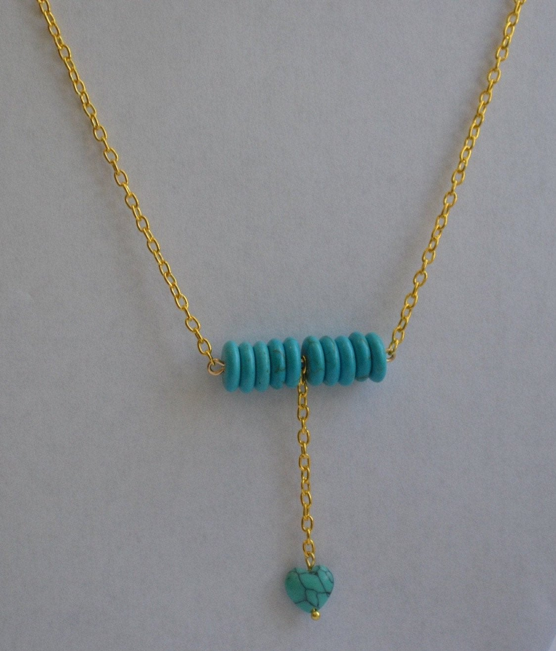 turquoise heart gold plated Necklace