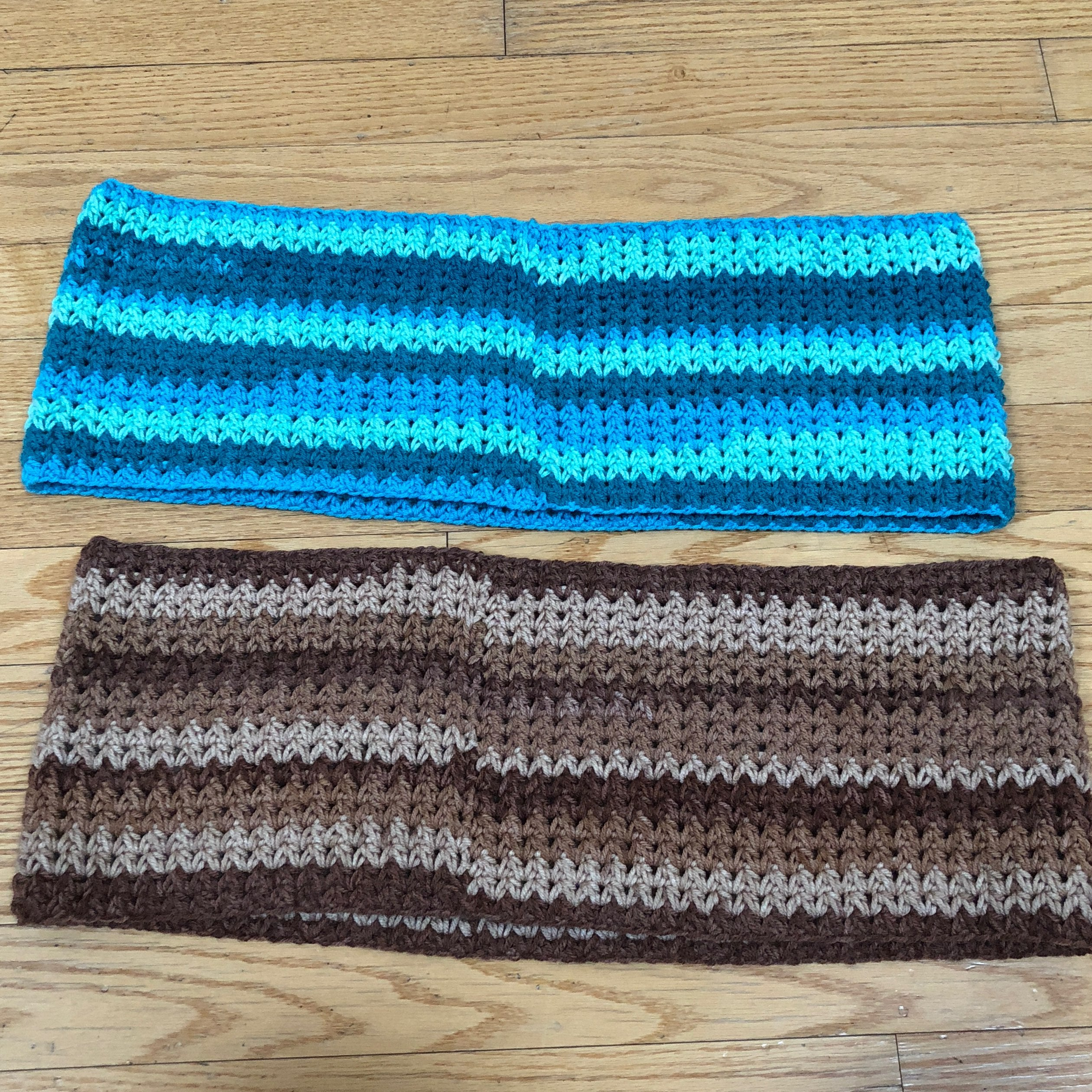 Two Hand Knit Cowl Neck Scarves