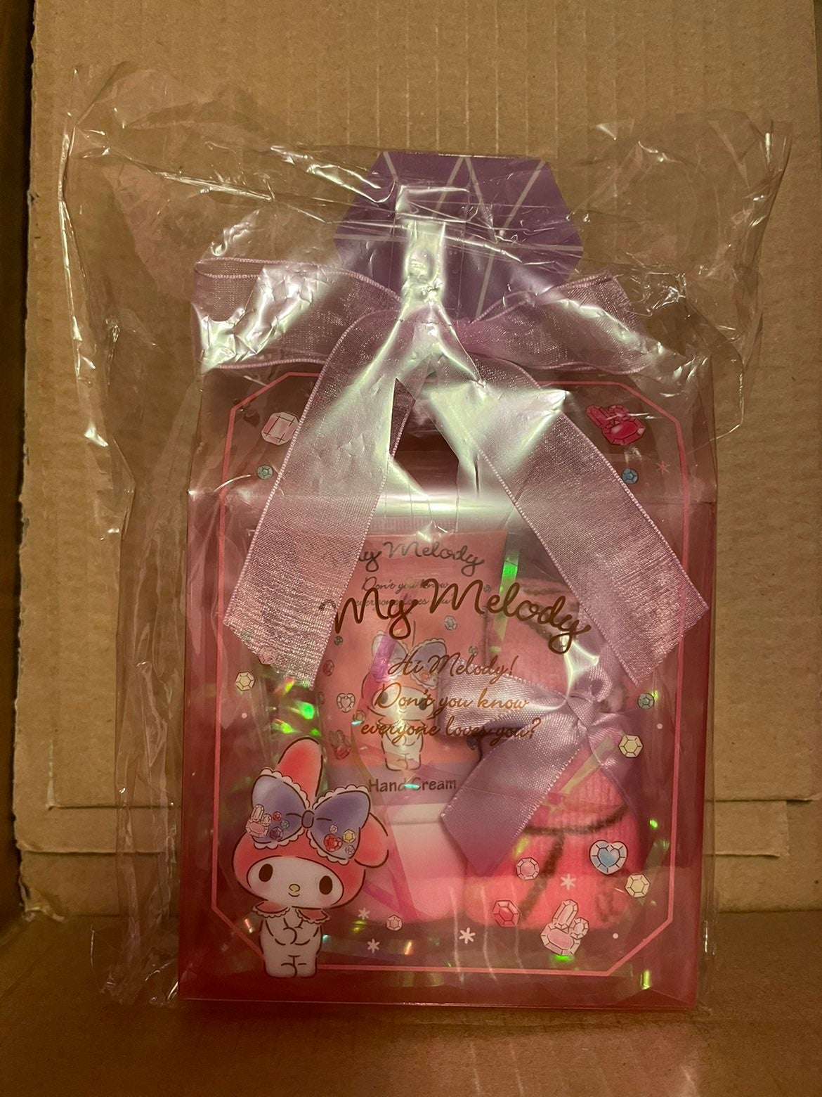 My melody hand cream and hand towel set
