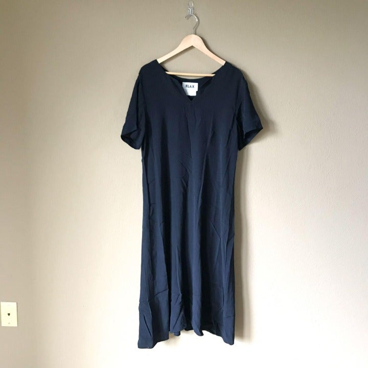 FLAX Rayon Black V-Neck Shift Midi Dress