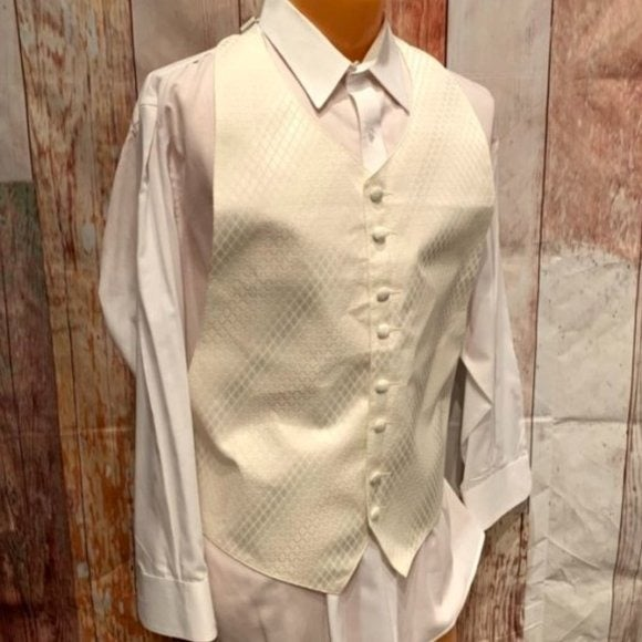 Adjustable One Size Ivory Tuxedo Vest