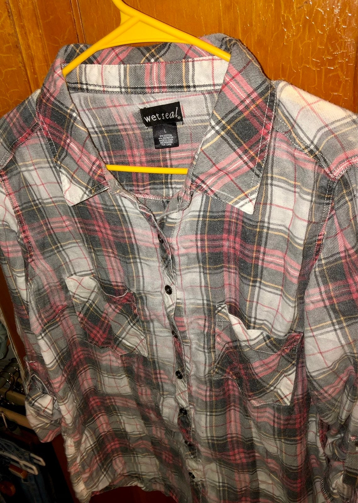 WET SEAL womens Large plaid flannel