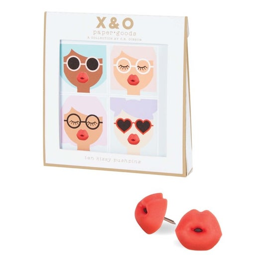 C.R. Gibson Red Lip Shaped Push Pins- 10