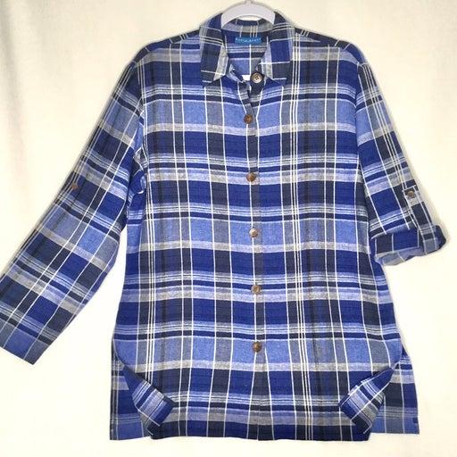 Karen Scott Sport Womens Blue Plaid Linen Blend Button Front Shirt Size Small