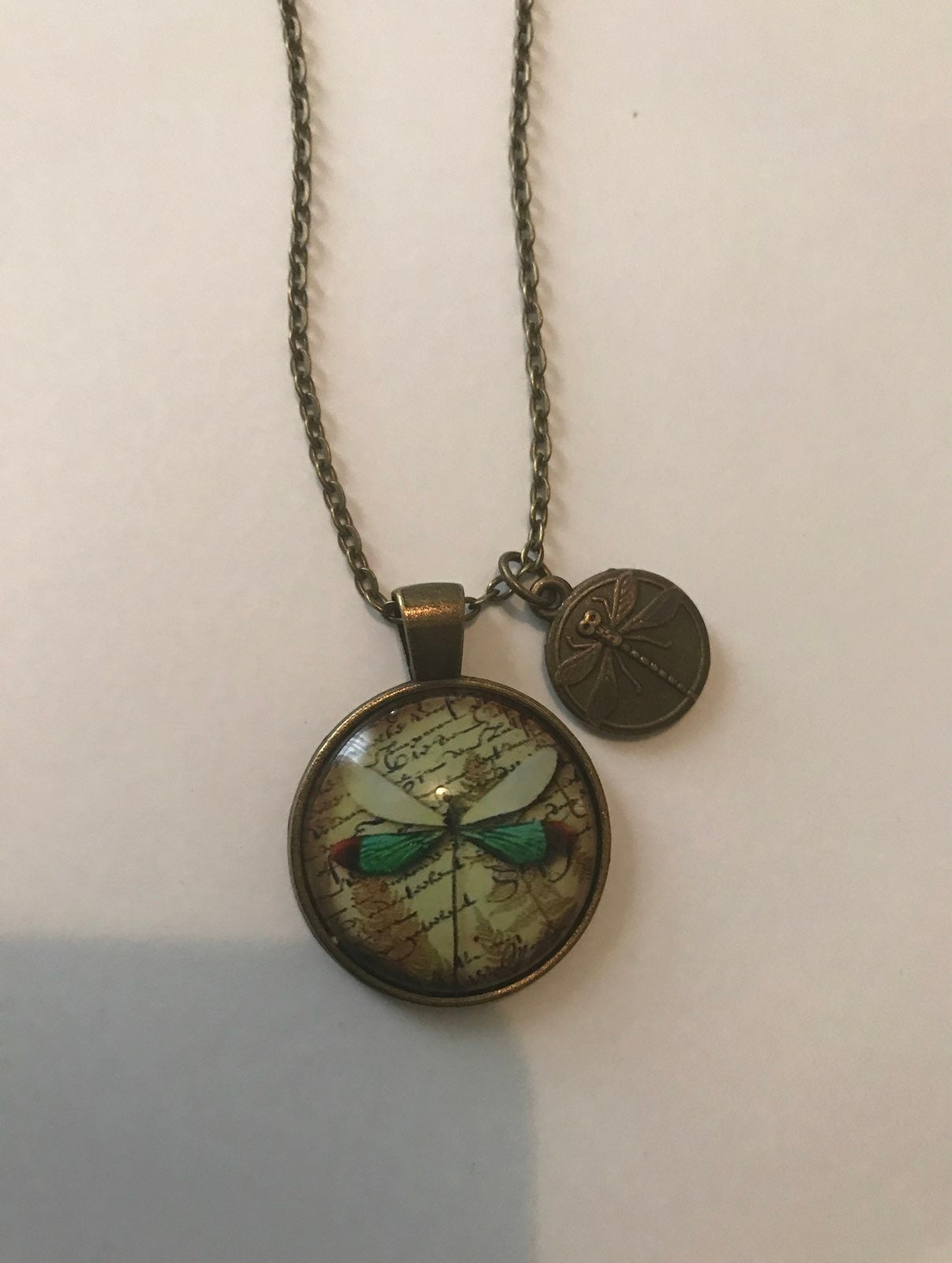 Dragonfly necklace with charm and Chain