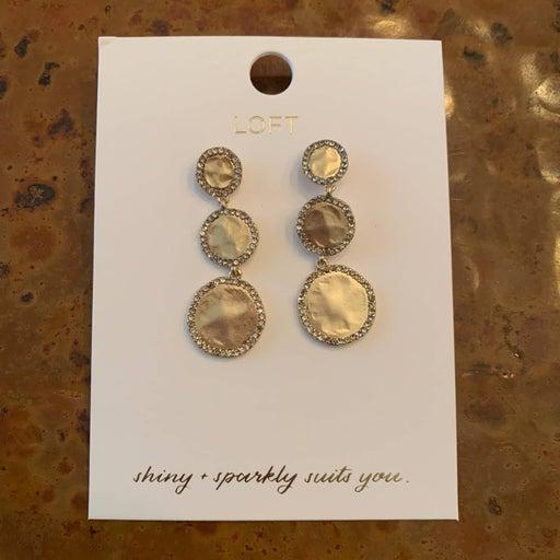 NWT LOFT Gold Pave Triple Drop Earrings