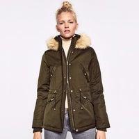 a20aa8fe ZARA Parka Army Green Hooded Coat Jacket
