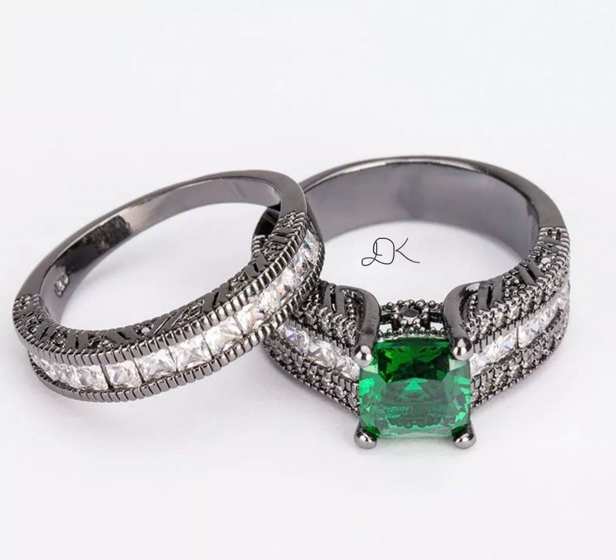 925/18K BLACK GOLD EMERALD 2P RING S8