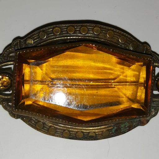 Victorian Amber Glass Brooch