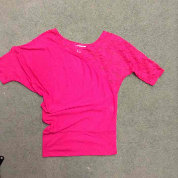 Pink lace rouched top