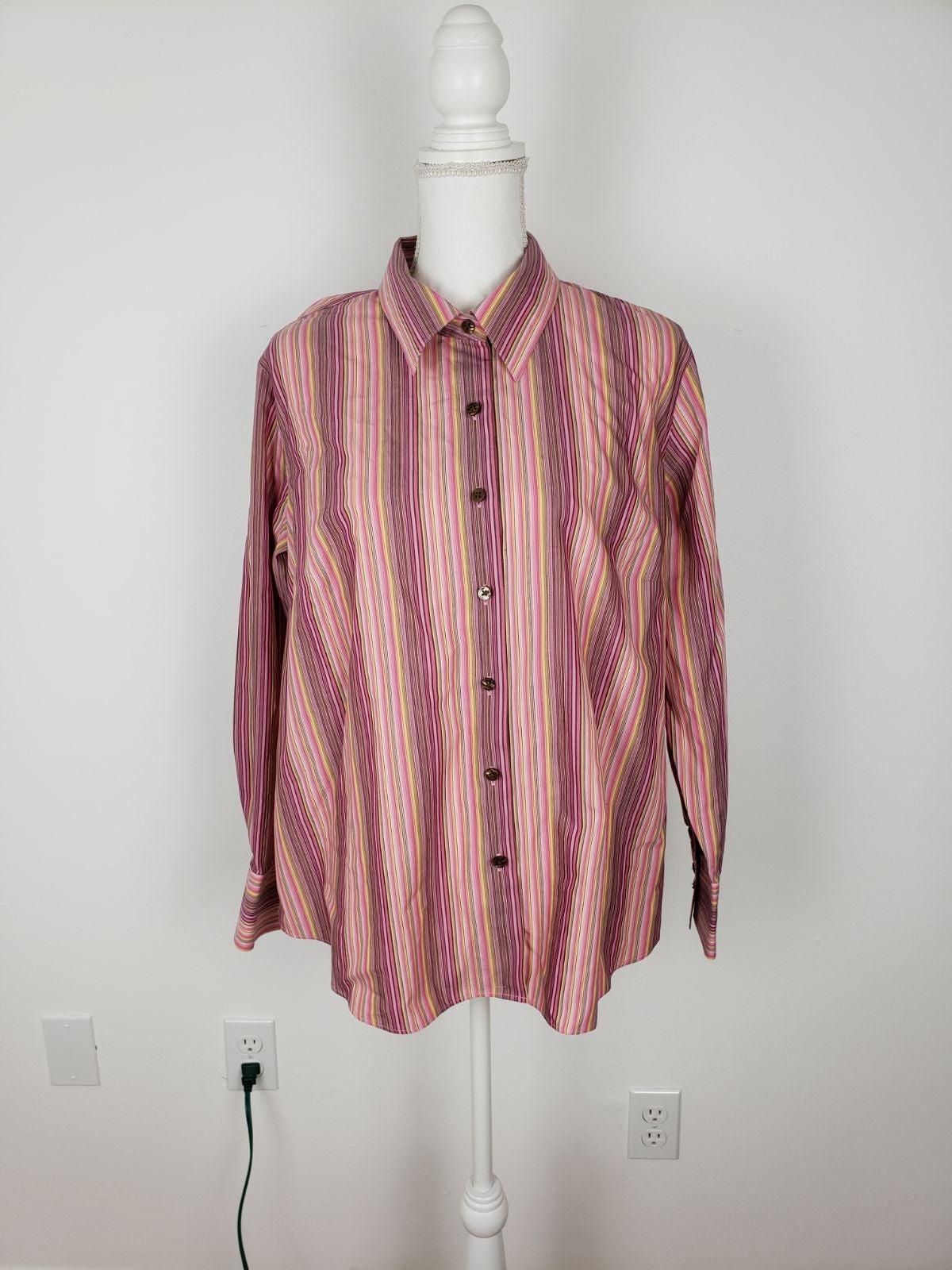 Talbots Women's Pink Striped Blouse