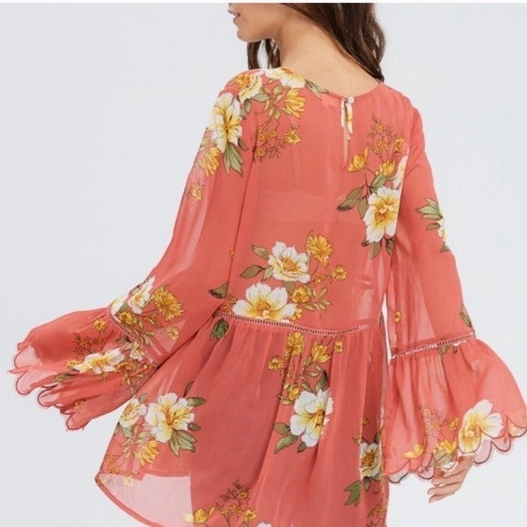 Crescent Bell Sleeve Floral Boho Tunic