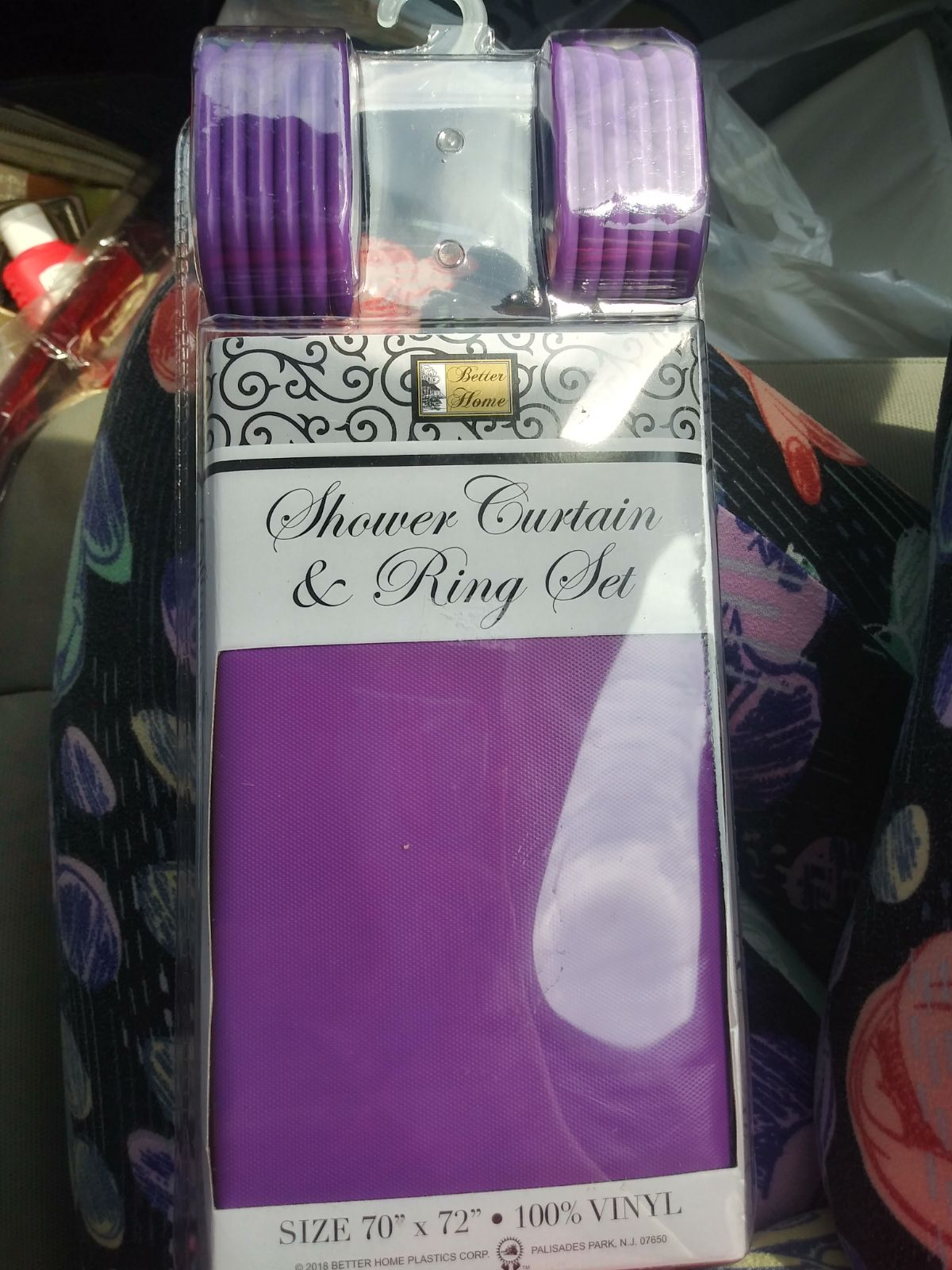 Purple shower curtain with hooks