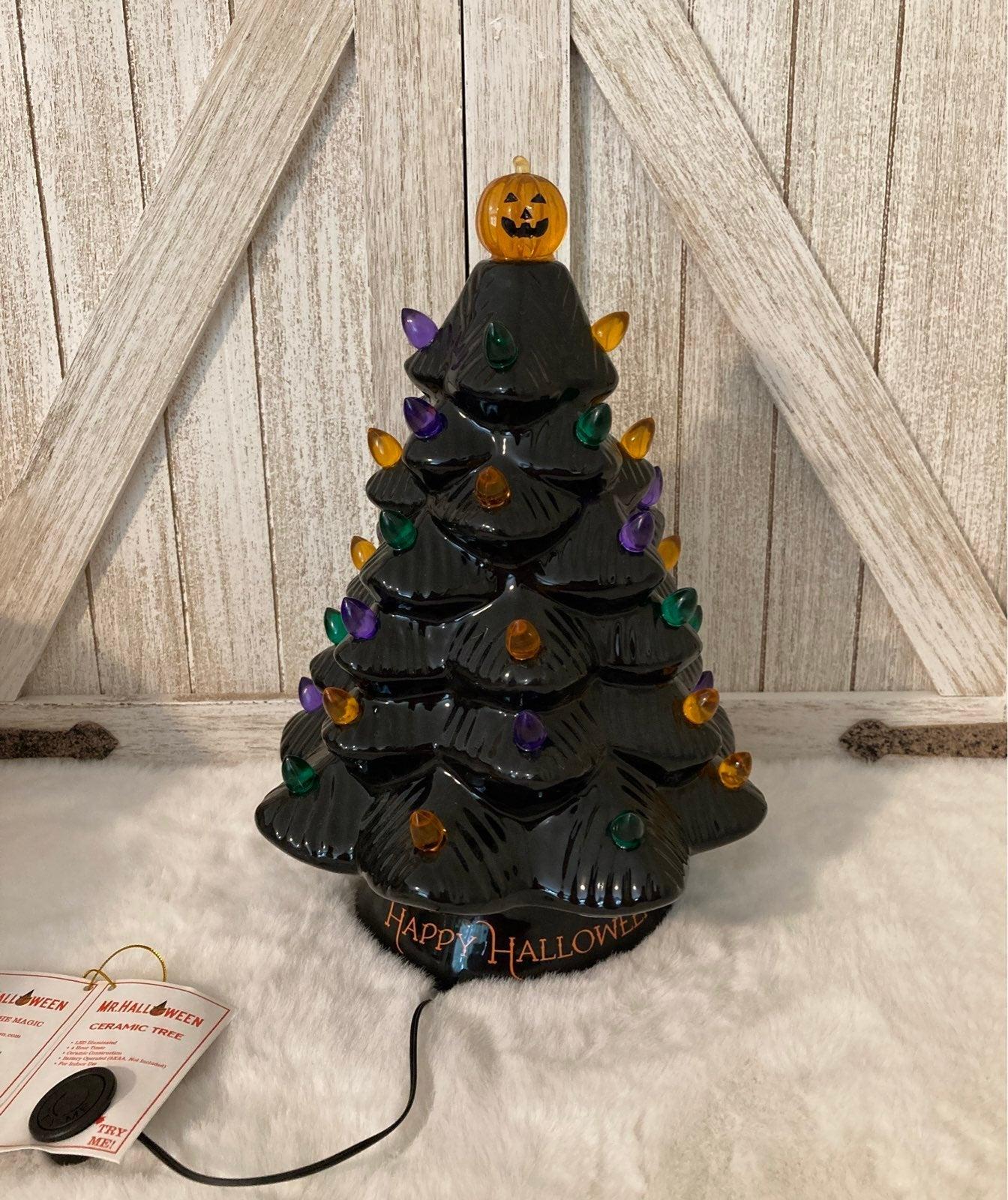 Mr Halloween Black Lighted Ceramic Tree