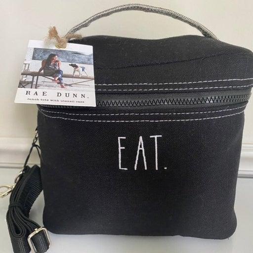 Rae Dunn Lunch Eat Tote Bag Black