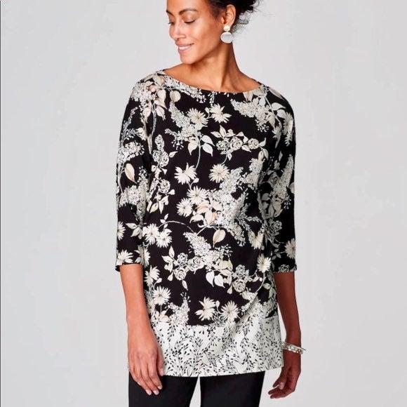 J jill black & white floral tunic top