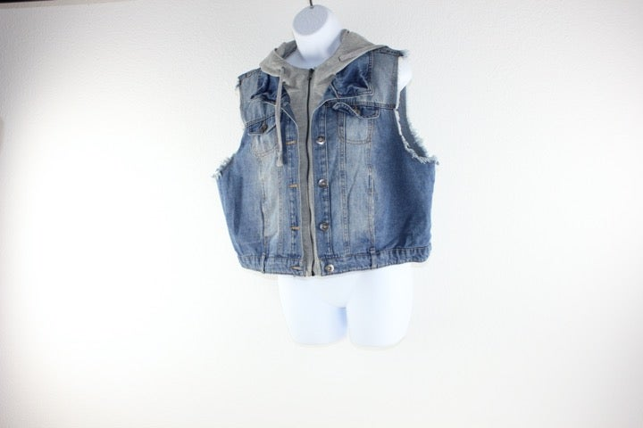 Jean vest with a gray hood