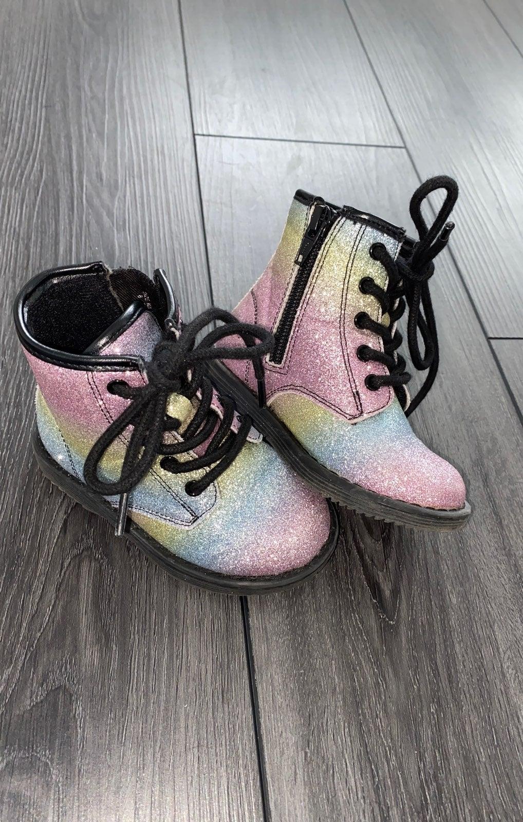 Size 6 Rainbow sparkle combat boots