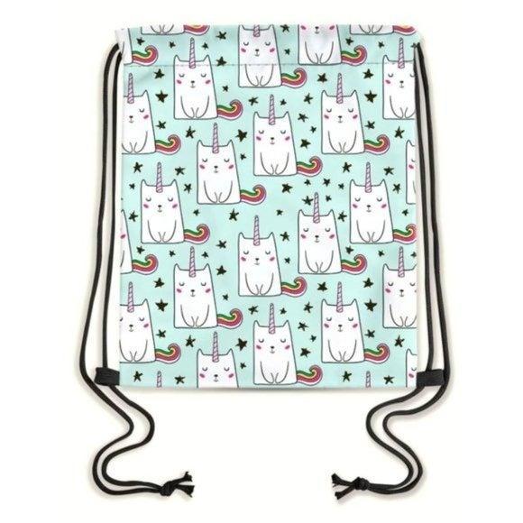 Unicorn Cat Rainbow Tail Drawstring Bag