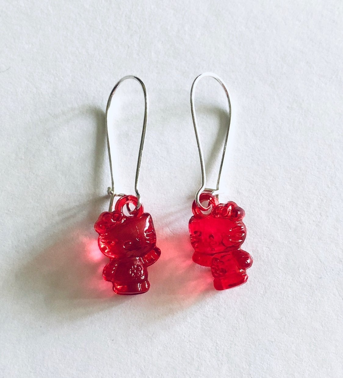 Hello Kitty Red Earrings Transparant