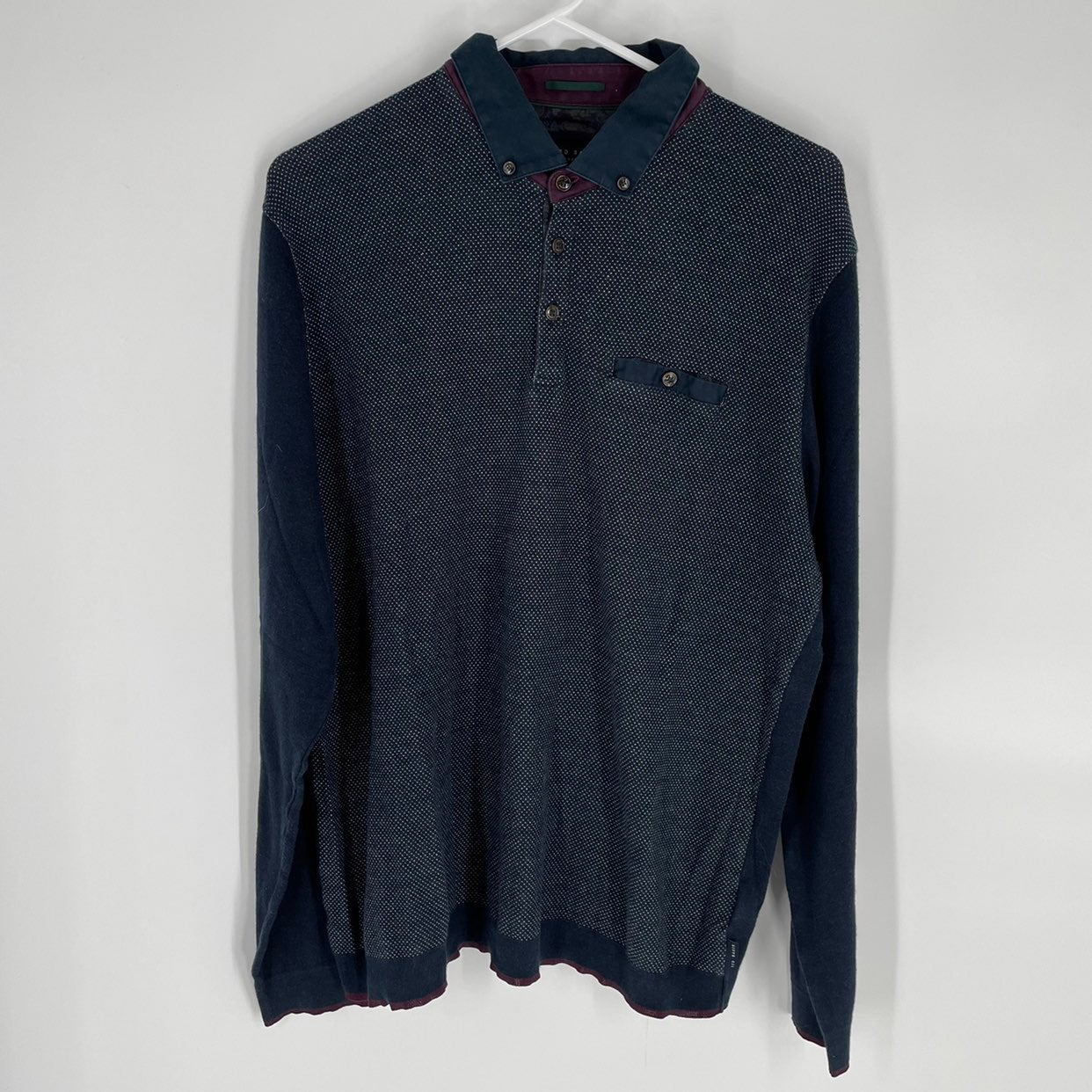 Ted Baker Navy Blue Long Sleeve Polo S