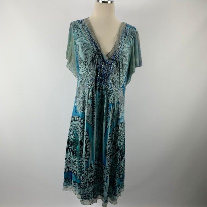 ONE WORLD XL Dress Blue Stud Rhinestone