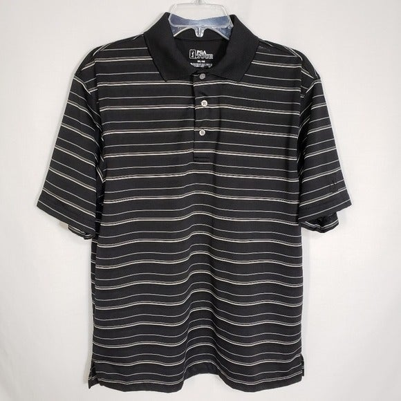 PGA Tour Golf Polo Shirt Striped Short S