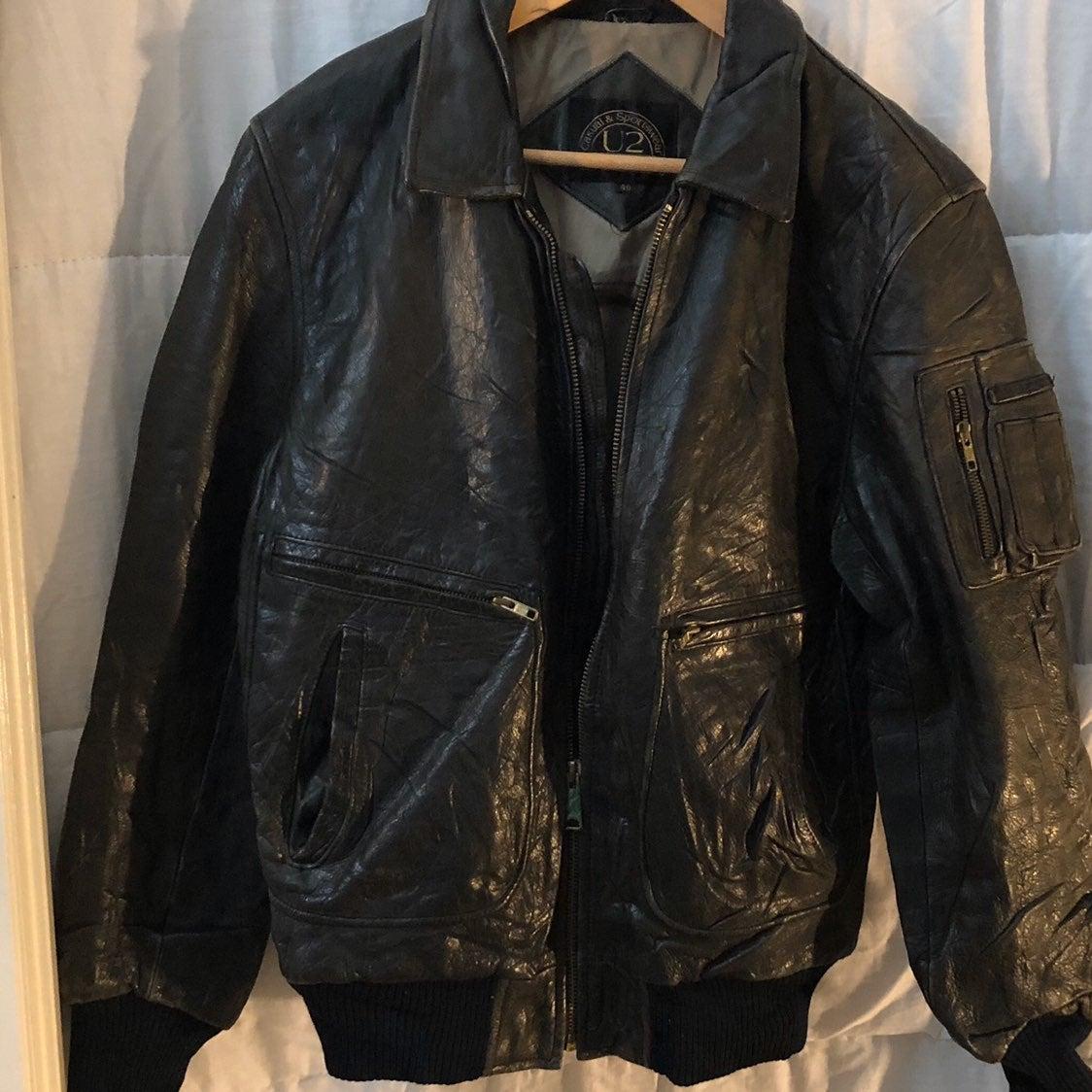 U2 Men's Leather Bomber Jacket
