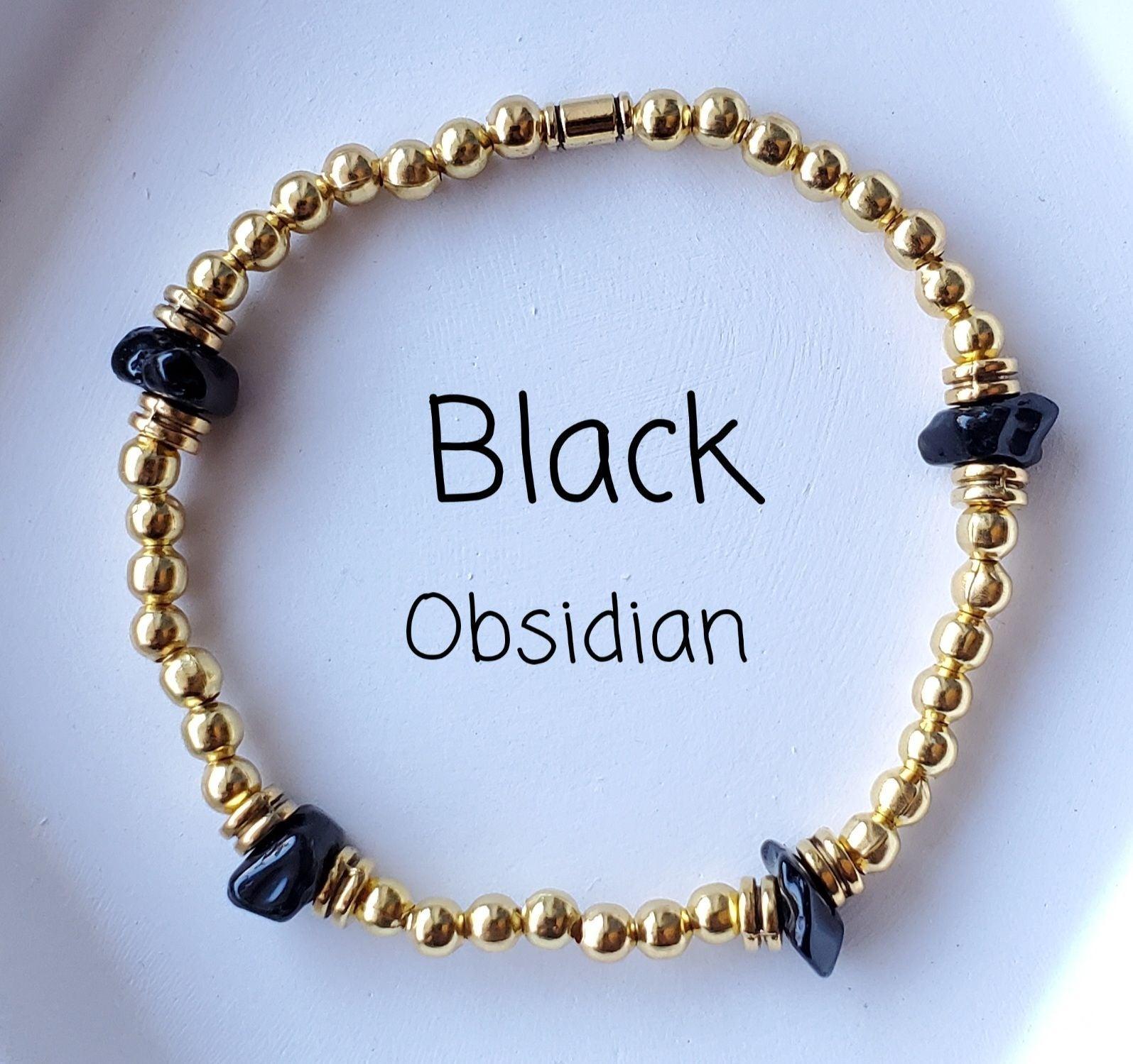 Black Obsidian Crystal Bracelet Gold