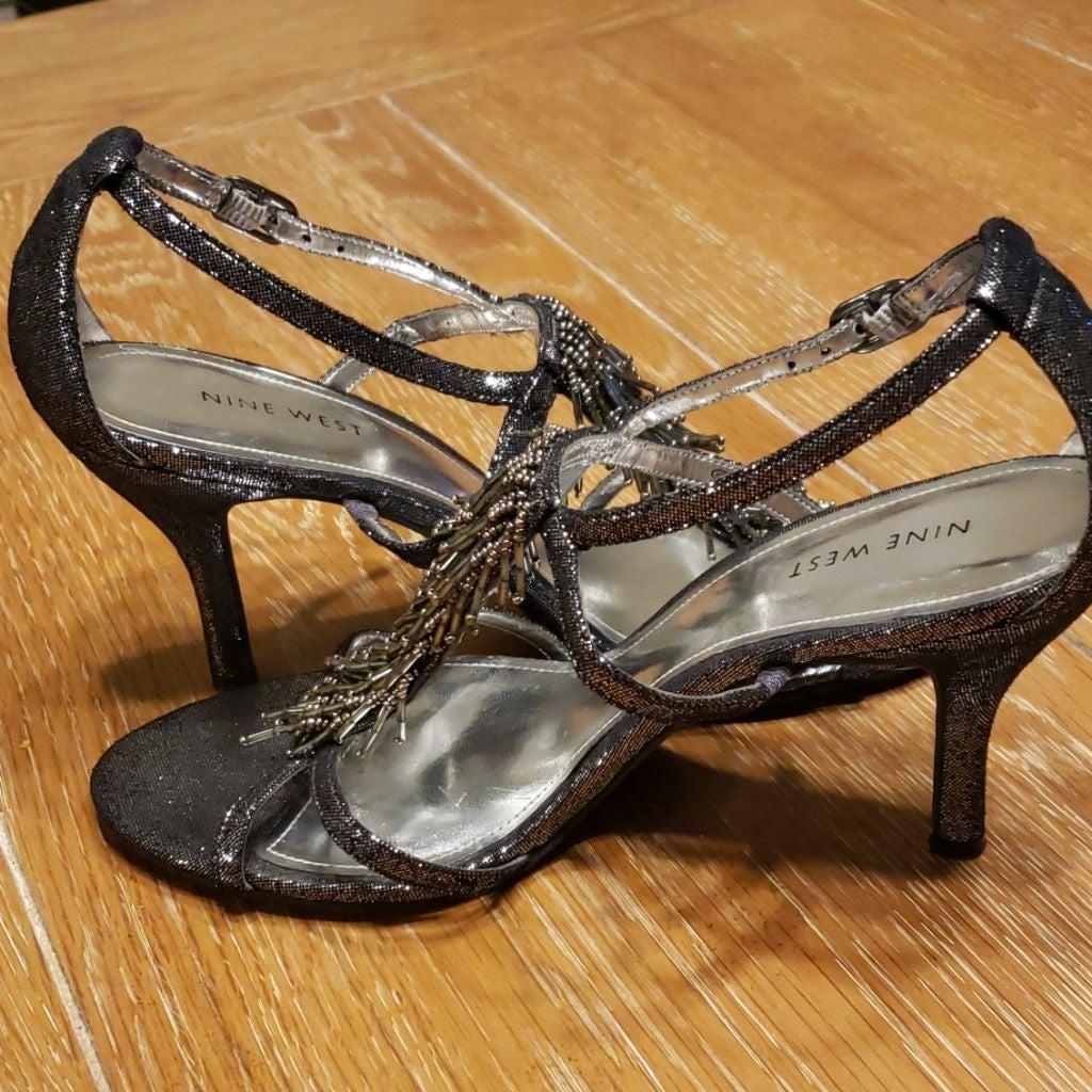 NINE WEST metallic fringe beaded sandals