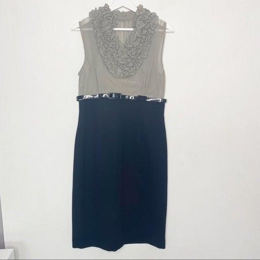 Calvin Klein Color Block Sheath Dress with Belt