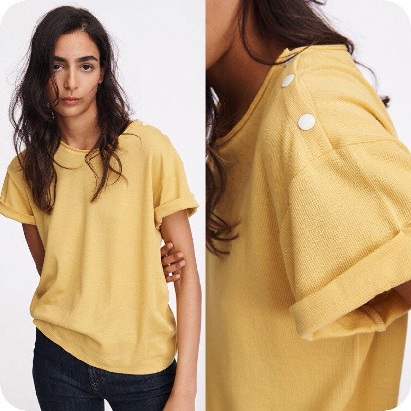 Rag & Bone Yellow Mac Rolled Sleeve Tee