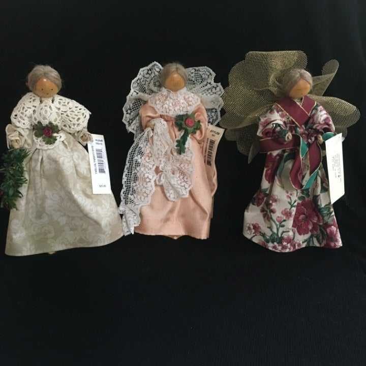 3 Handcrafted Wooden Angels