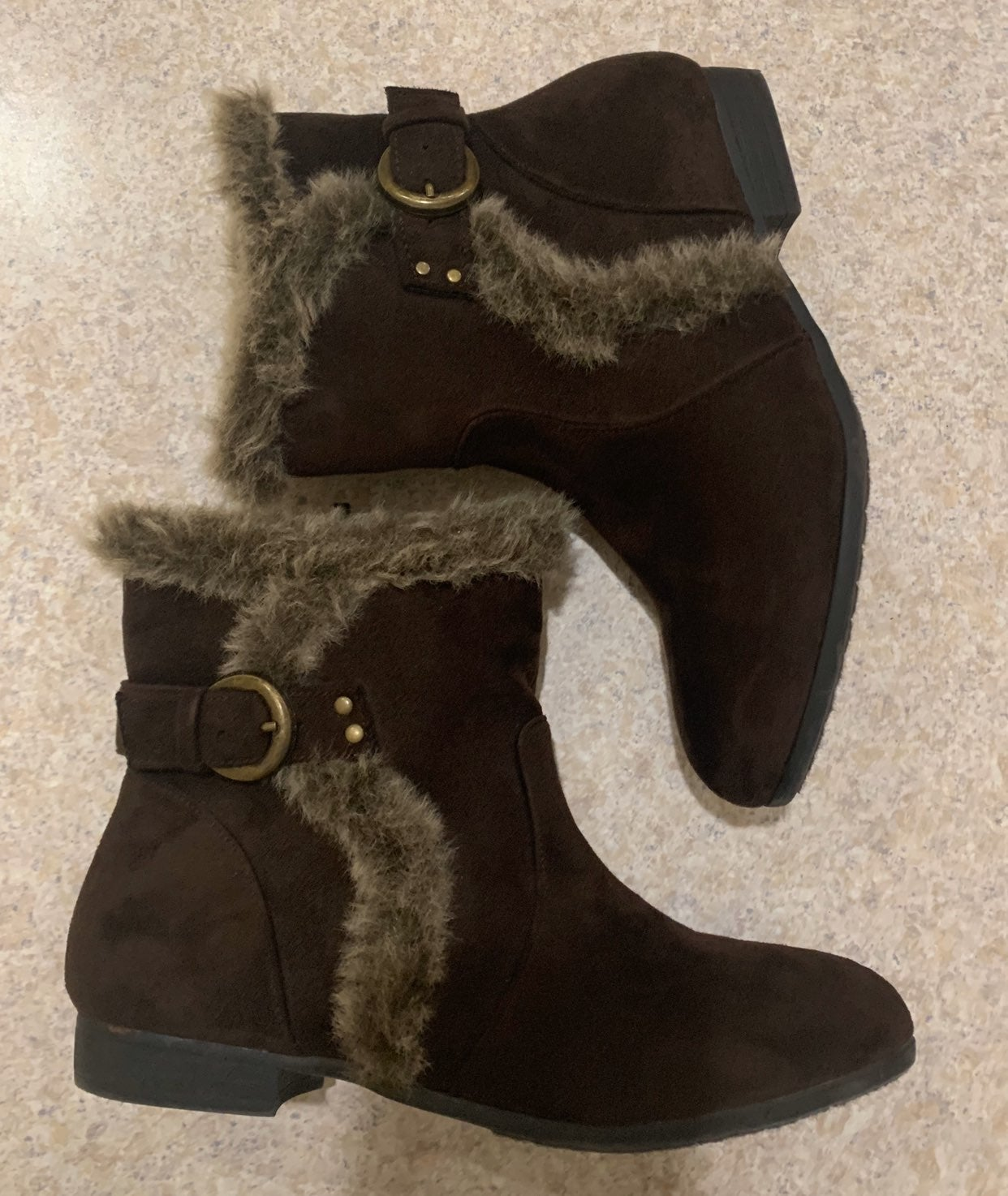 Bay studio suede ankle boots faux fur