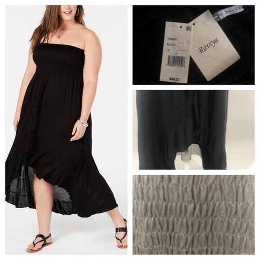 Raviya BLACK Plus Size Tube Dress Cover-