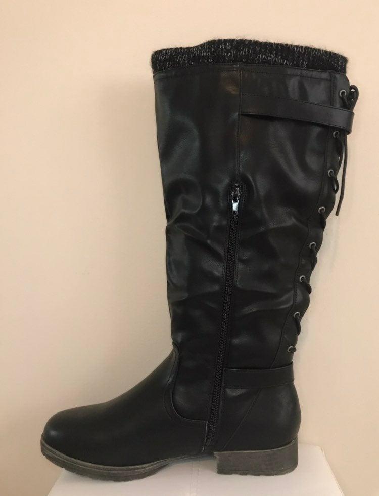 Wide calf black boots