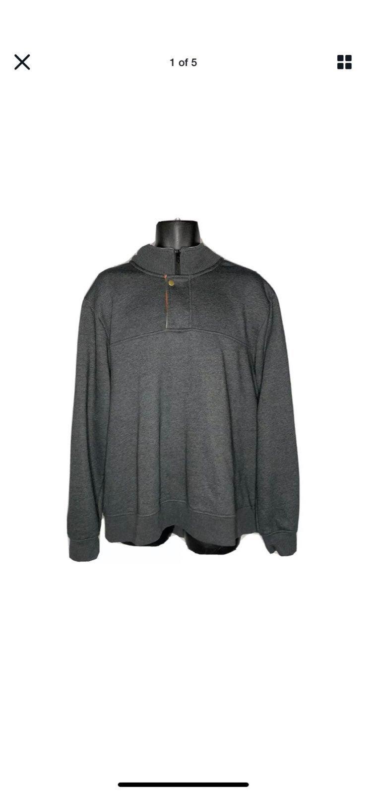 ORVIS Gray Quarter Zip Snap Sweatshirt