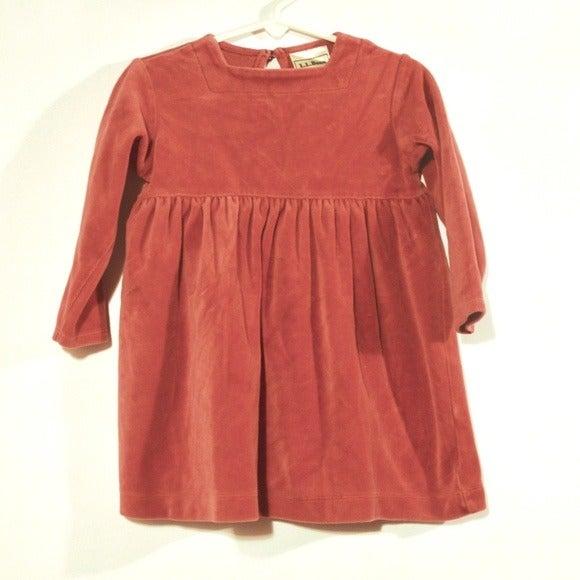 L.L BEAN Wine Red Velour 2T Toddler Girl