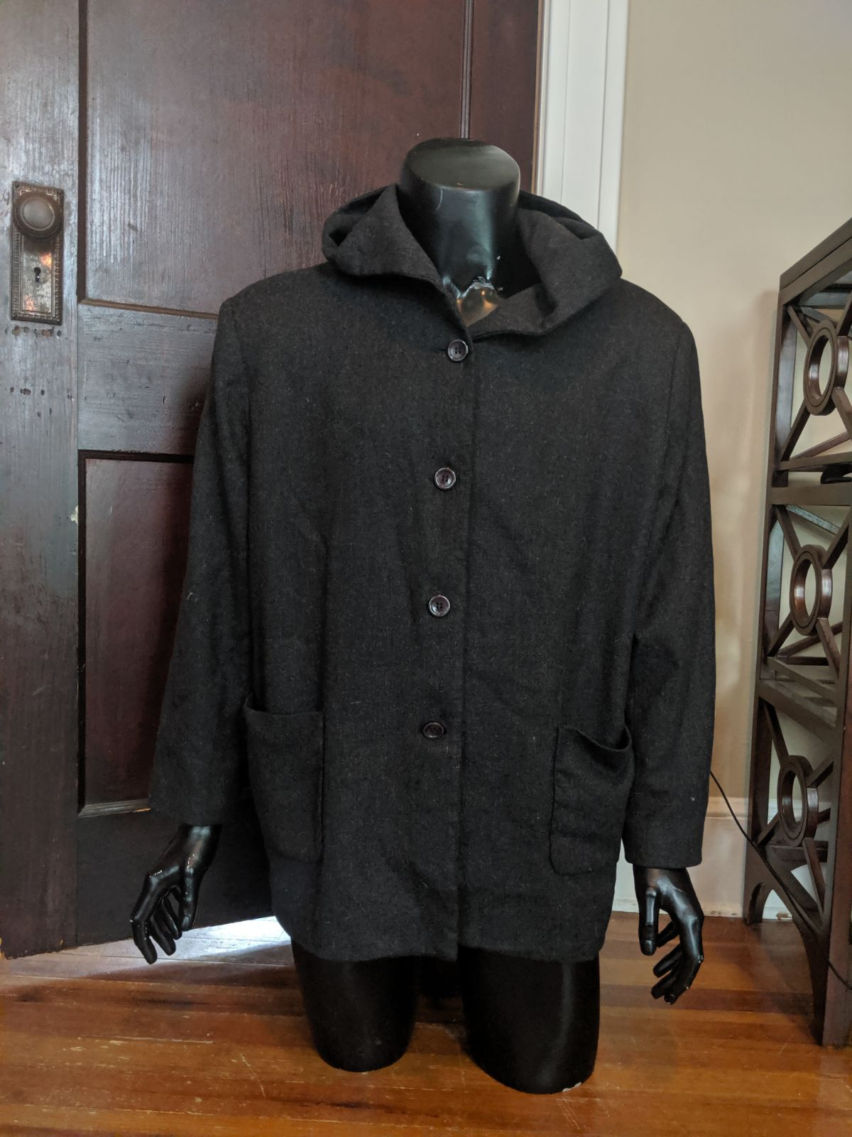 Sandro grey hooded wool coat