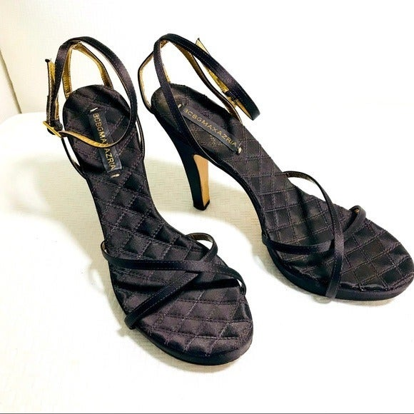 BCBG Brown Shimmer Heels Sandals Ankle Strap 9.5 B
