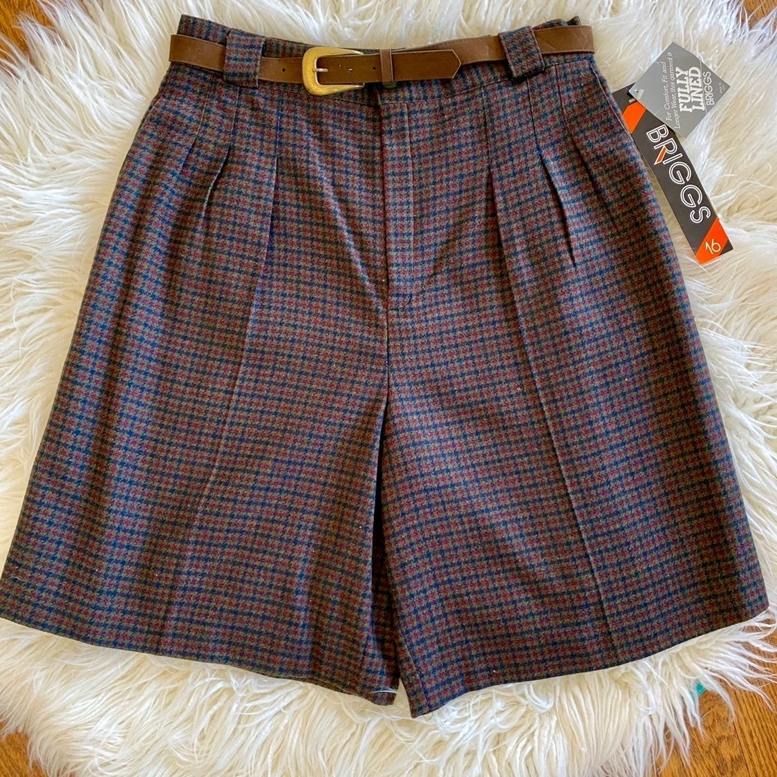 Vintage 80s High Waisted Wool Shorts NWT